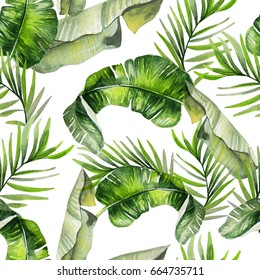 Beautiful watercolor seamless tropical jungle floral pattern background with palm leaves. Illustration