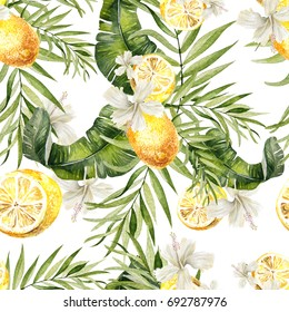 Beautiful watercolor seamless, tropical jungle floral pattern background with palm leaves, Hibiscus flowers and lemon fruit. Illustration