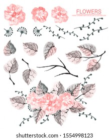 Beautiful watercolor set of leaves, wildflowers and branches. Decorative hand drawn illustration for design on a white background.