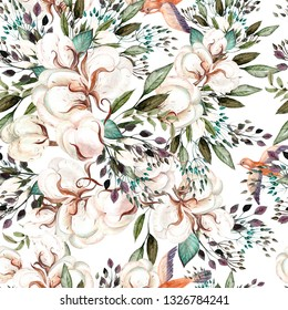 Beautiful watercolor spring pattern with cotton and bird. Illustration