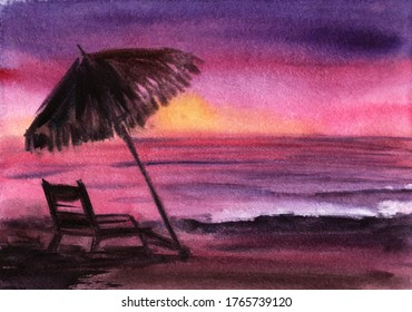 Beautiful watercolor sunset at empty coast with standing sunbed and palm beach umbrella. Amazing colorful sky with blurry stain of setting sun reflected on rippled water surface. Hand drawn idyll
