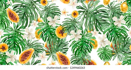 Beautiful watercolor tropical pattern with flowers,fruits papaya and lemon. Illustration