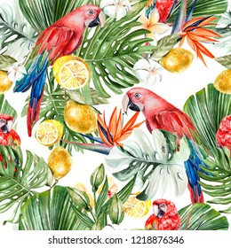 Beautiful watercolor tropical pattern with leaves, flowers,fruits and parrots.  Illustration
