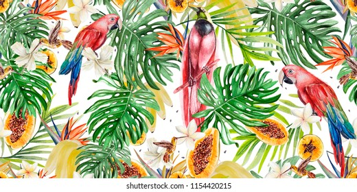 Beautiful watercolor tropical pattern with parrots and flowers of hibiscus and strelitzia. Tropical fruits papaya and bananas. Illustration