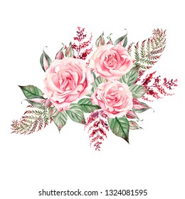 Beautiful  watercolor wedding bouquet with pink roses and fern, leaves. Illustration