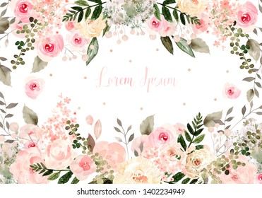 Beautiful watercolor wedding card with peony flowers, roses and orchid flower. Illustration