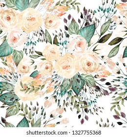 Beautiful watercolor wedding pattern with leaves and rose. Illustration