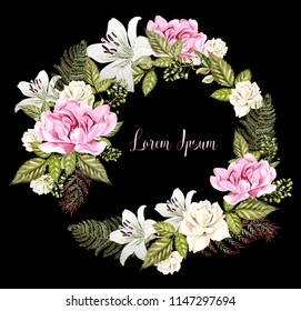 Beautiful Watercolor Wedding Wreath with roses, lily and peony flowers. Illustration
