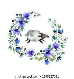 Beautiful watercolor wreath with baby sheep isolated on white background. Round floral watercolor wreath for design, postcards, banners, emblems, logo.