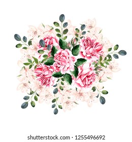 Beautiful Watercolor Wreath with roses and spring flowers. Illustration