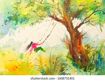 Beautiful watercolour of girl on a swinging cot and trees made on handmade paper, painted by brush and paints.