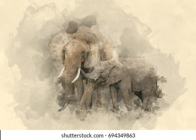 Beautiful watercolour painting of Mother and Calf Baby African Elephant Loxodonta Africana