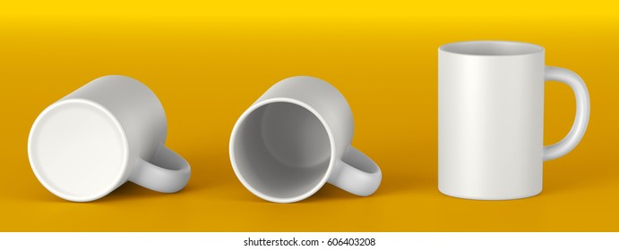 beautiful white ceramic mug. Front view, Lying on its side, the Bottom. Mock up Template for application design. 3D rendering.