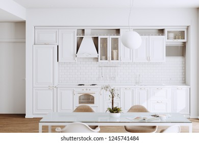 Beautiful White Classic Kitchen in new Luxury Home with  Hardwood Floors, and Vintage Appliances 3d render
