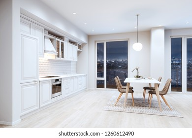 Beautiful White Classic Kitchen in new Luxury Home with Hardwood Floors, and Vintage Appliances 3d render night version