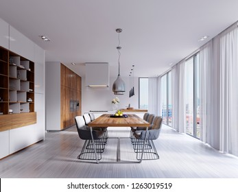 Beautiful white dining room with a large table and designer chairs. 3d rendering