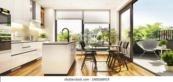 Beautiful white kitchen with large windows and a terrace in the modern home. 3d rendering