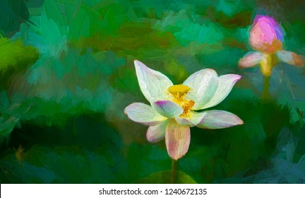 The beautiful white and pink lotus flowers with green leafs bloom in a pond in the morning - abtract digital oil painting