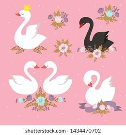 Beautiful white princess swan with crown. Cartoon goose, duck bird set. Black swan and princess cute animal illustration