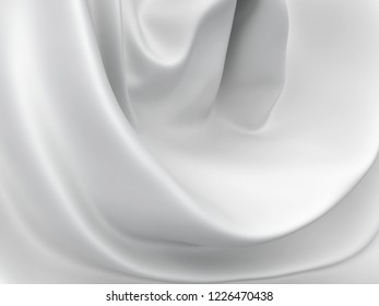 Beautiful White Satin Fabric for Drapery Abstract Background. Silk Fabric.