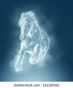 the beautiful white wild stallion running on clouds. blue color