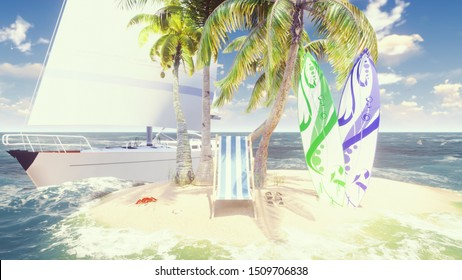 Beautiful wild island, beach and palm trees, white sand and blue sky, beach chair, surfboards and wooden banner with green screen. Amazing summer travel, background. 3D Rendering