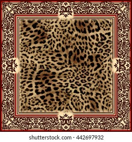Beautiful wild leo pattern square illustration of frame with leopard skin. Leopard background. Panther fashion shawl. Animal pattern with decorative elements