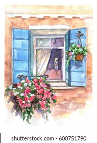 Beautiful Window with blooming flowers. Watercolor hand painted illustration.