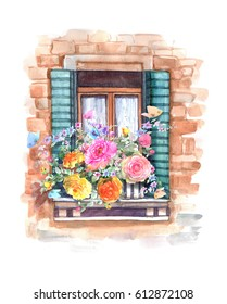 Beautiful Window with blooming roses flowers and  colorful butterflies. Watercolor hand painted illustration.