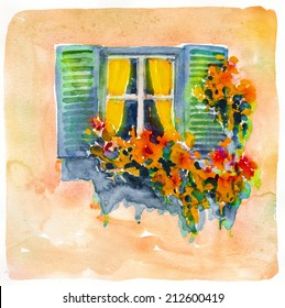 Beautiful window in flowers blooming poster painting watercolor oil illustration hand drawn artwork