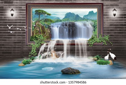 beautiful Window waterfall over mountain decorative background natural scene 3D wallpaper-Illustration. graphical poster modern art