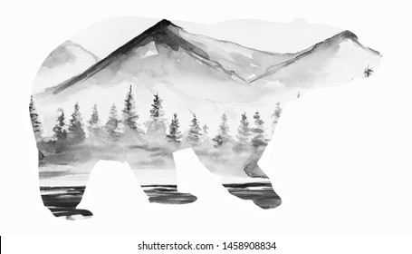 Beautiful winter art bear silhouette water color background illustration