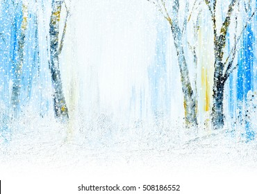 Beautiful Winter time acrylic painting with digital snowfall effects