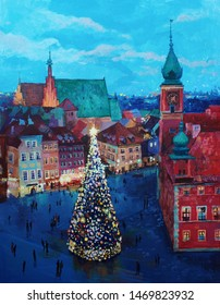 Beautiful winter urban landscape old csquare and walking people . Europe. Oil painting on canvas.