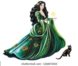 beautiful witch in a green dress with a magic wand and a black cat, Celtic woman, isolated character on a white background