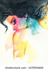 Beautiful woman, art and fashion. Hand painted watercolor illustration.