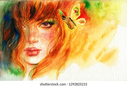 beautiful woman an butterfly. fashion illustration. watercolor painting