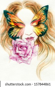 Beautiful woman - butterfly and flower