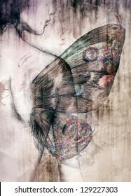Beautiful woman - butterfly. Hand painted fashion illustration
