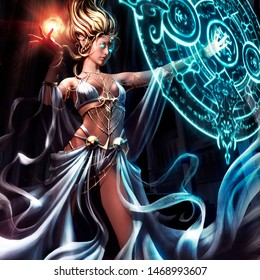 A beautiful woman in a beautiful dress conjures a magic circle with runes. 3D illustration. The characters don't mean anything it's just squiggles.