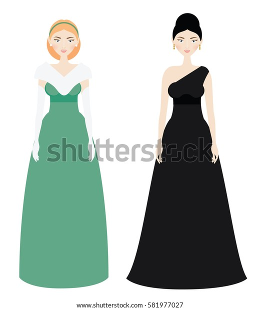Beautiful Woman dresscode. Smiling Female in luxury evening long gown dresses. Black tie and white tie types. Elegant outfit. illustration