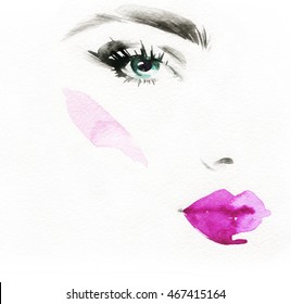 Beautiful woman face. Abstract fashion watercolor illustration