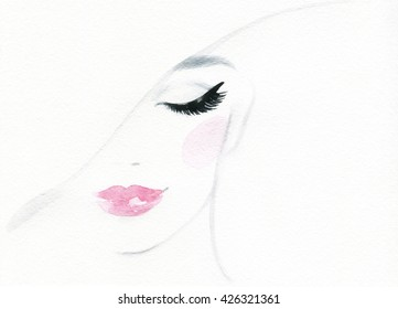 Beautiful woman face. fashion watercolor illustration