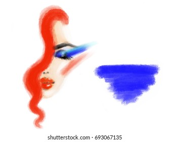 Beautiful woman face and place for text. Makeup. Fashion illustration.