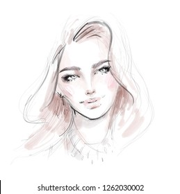 Beautiful woman face portrait fashion illustration. Pencil and watercolor drawing sketch. Young girl with natural makeup and long hair.