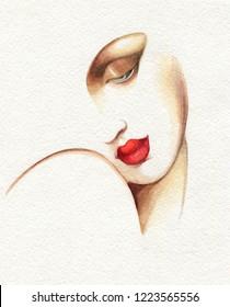 schöne Frau. Modegrafik. Aquarellmalerei