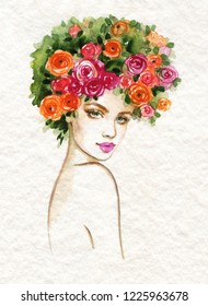 beautiful woman. fashion illustration. watercolor painting