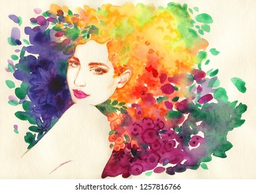 9411a7fe57 beautiful woman. fashion illustration. watercolor painting