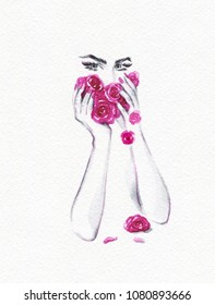 beautiful woman and flowers. fashion illustration. watercolor painting