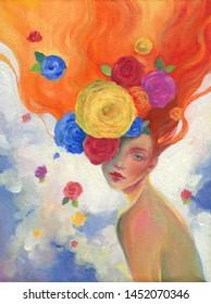 schöne Frau und Blumen. Ölmalerei. zeitgenössische Kunst